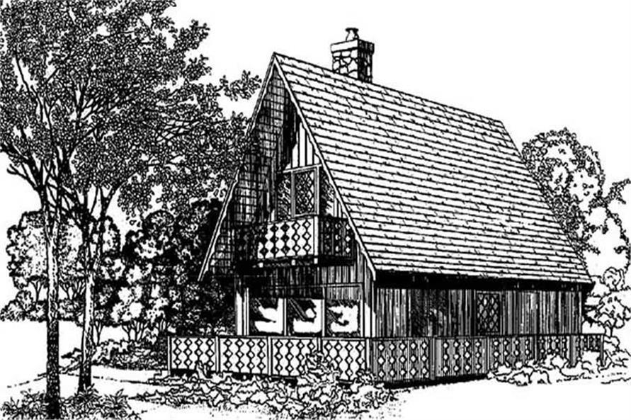 3-Bedroom, 1380 Sq Ft Log Cabin Home Plan - 145-1849 - Main Exterior
