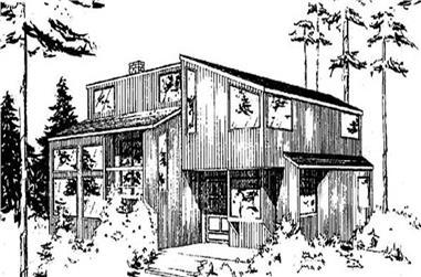 3-Bedroom, 1309 Sq Ft Log Cabin Home Plan - 145-1872 - Main Exterior