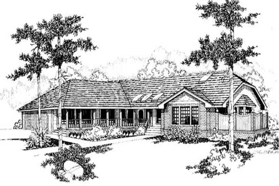 3-Bedroom, 2197 Sq Ft Ranch House Plan - 145-1882 - Front Exterior