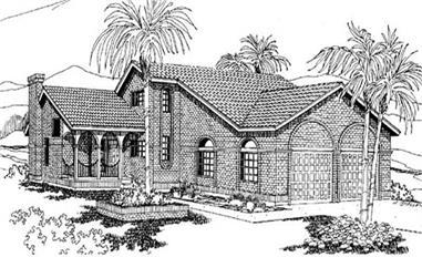 4-Bedroom, 2228 Sq Ft Mediterranean House Plan - 145-1886 - Front Exterior