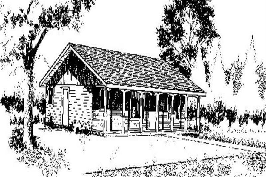 2-Bedroom, 1144 Sq Ft Log Cabin Home Plan - 145-1898 - Main Exterior
