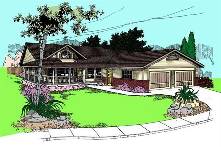 3-Bedroom, 1615 Sq Ft Country House Plan - 145-1908 - Front Exterior