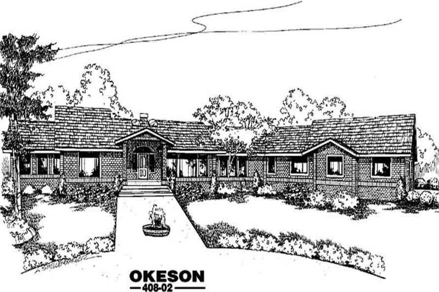 Front elevation of Contemporary home (ThePlanCollection: House Plan #145-1909)