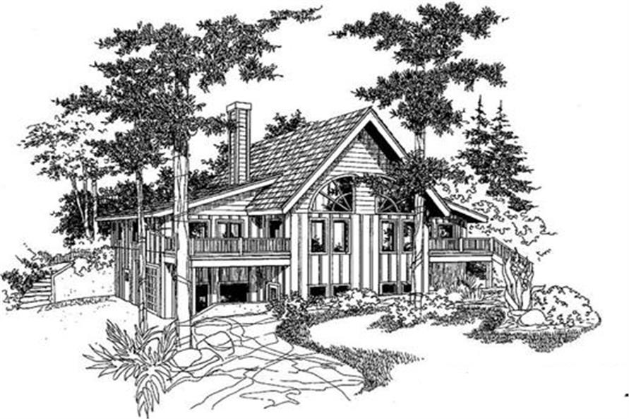 3-Bedroom, 2074 Sq Ft Log Cabin Home Plan - 145-1938 - Main Exterior