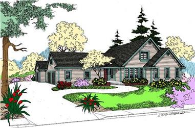 3-Bedroom, 2116 Sq Ft Ranch House Plan - 145-1941 - Front Exterior