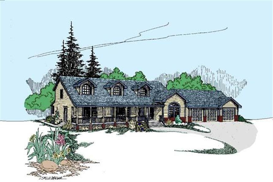 4-Bedroom, 3324 Sq Ft Country Home Plan - 145-1944 - Main Exterior