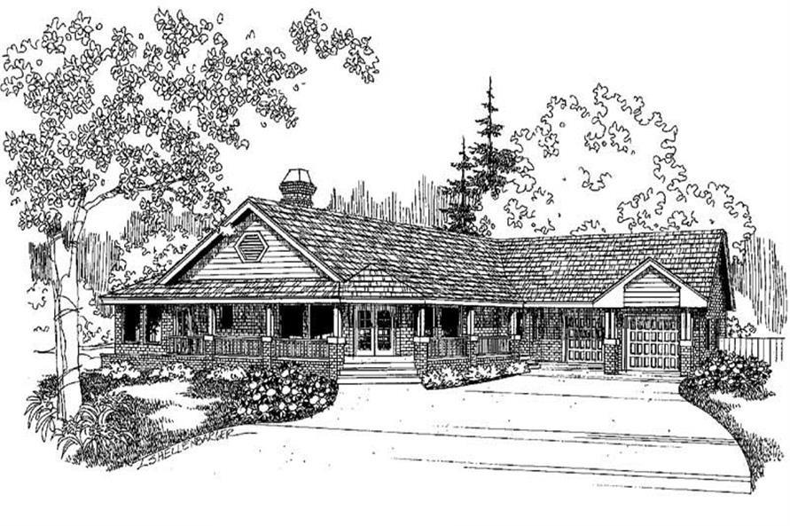 Home Plan Front Elevation of this 2-Bedroom,1556 Sq Ft Plan -145-1948