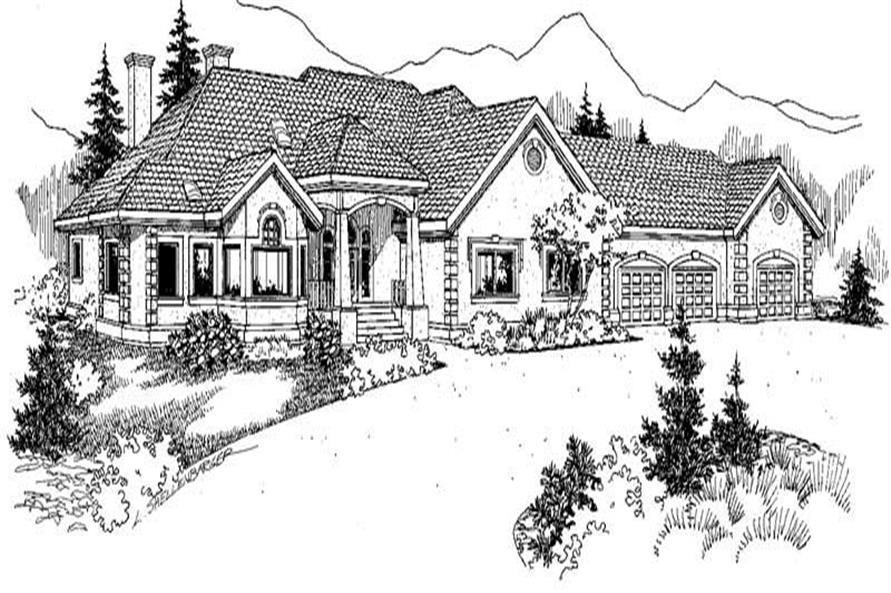 Home Plan Front Elevation of this 4-Bedroom,3488 Sq Ft Plan -145-1956