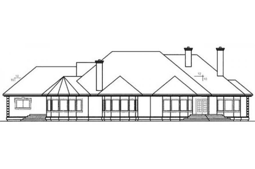 Home Plan Rear Elevation of this 4-Bedroom,3488 Sq Ft Plan -145-1956