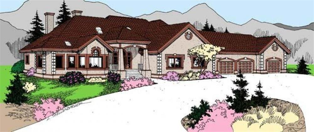 Front elevation of Ranch home (ThePlanCollection: House Plan #145-1956)