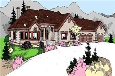 4-Bedroom, 3488 Sq Ft Ranch Home Plan - 145-1956 - Main Exterior