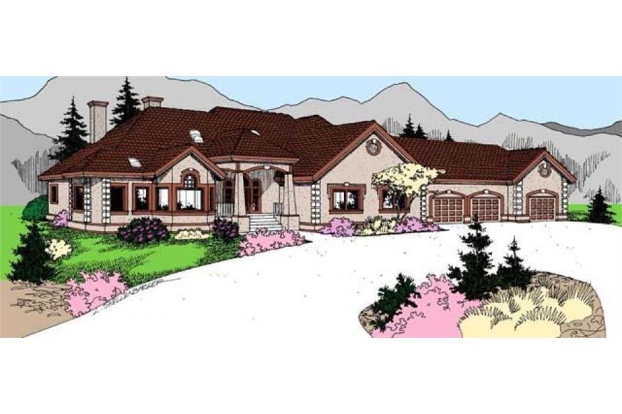 4-Bedroom, 3488 Sq Ft Ranch Home Plan - 145-1956 - Main Exterior