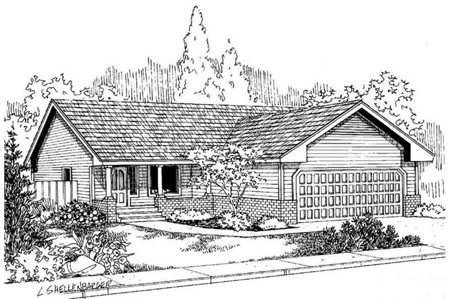 3-Bedroom, 978 Sq Ft Country Home Plan - 145-1978 - Main Exterior
