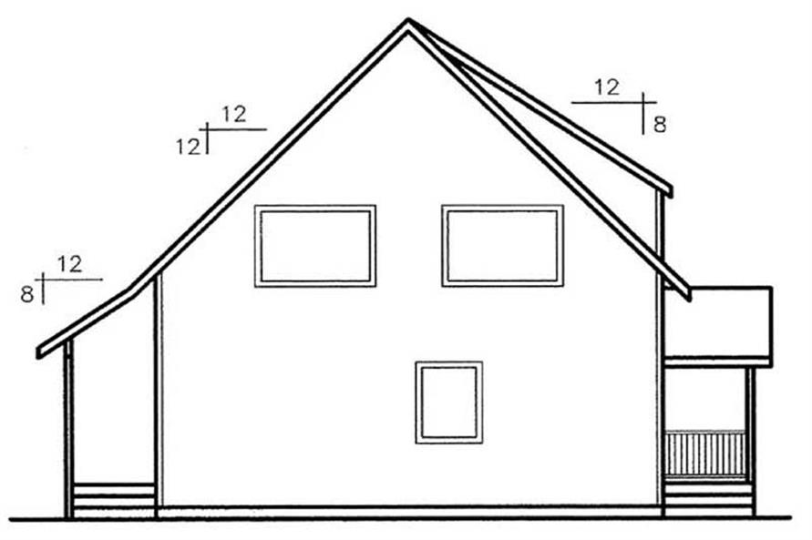 Home Plan Rear Elevation of this 3-Bedroom,1594 Sq Ft Plan -145-2025