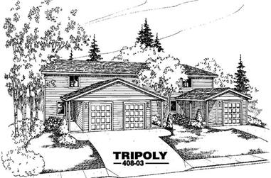 2-Bedroom, 1176 Sq Ft Multi-Unit House Plan - 145-2034 - Front Exterior