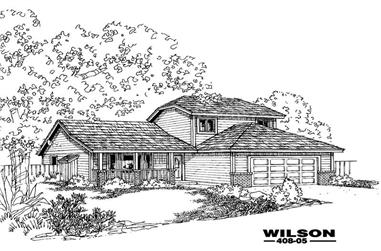 3-Bedroom, 1637 Sq Ft Country House Plan - 145-2035 - Front Exterior