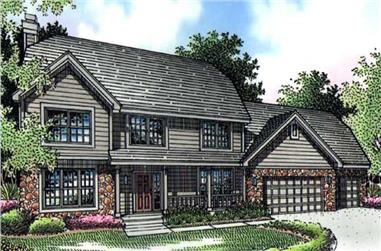 4-Bedroom, 2552 Sq Ft Country Home Plan - 146-1002 - Main Exterior