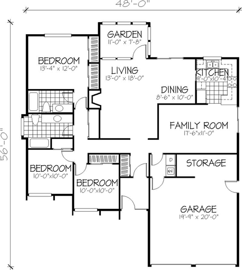 Contemporary house plans home design ls h 2111 1a for 1010 family plan