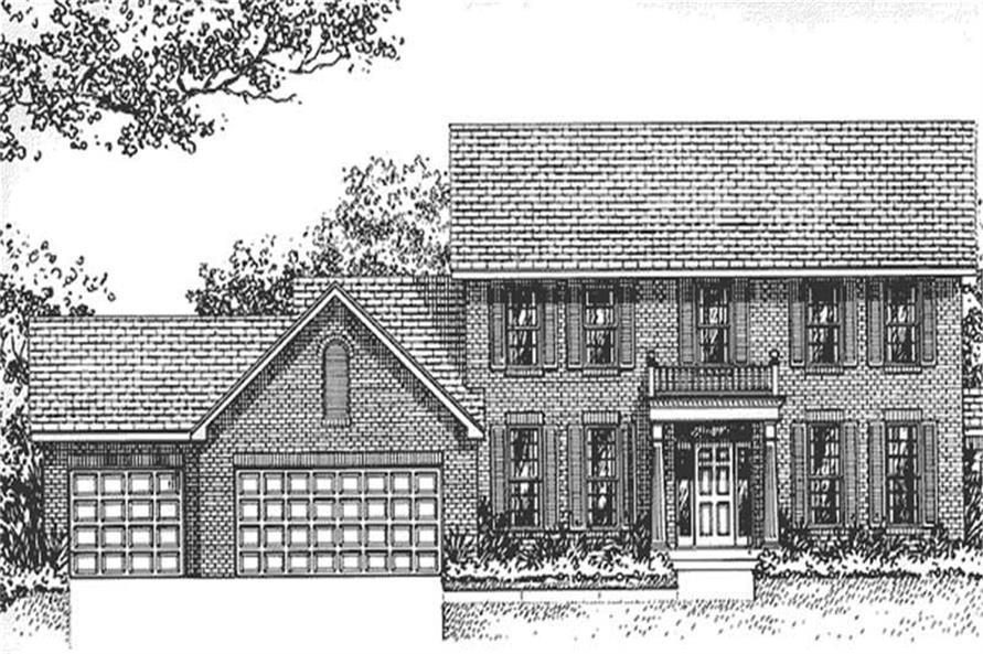 Home Plan Front Elevation of this 4-Bedroom,2214 Sq Ft Plan -146-1020