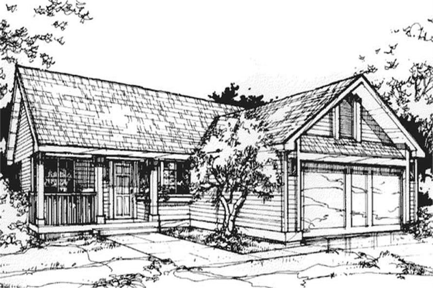 3-Bedroom, 1408 Sq Ft Country House Plan - 146-1023 - Front Exterior