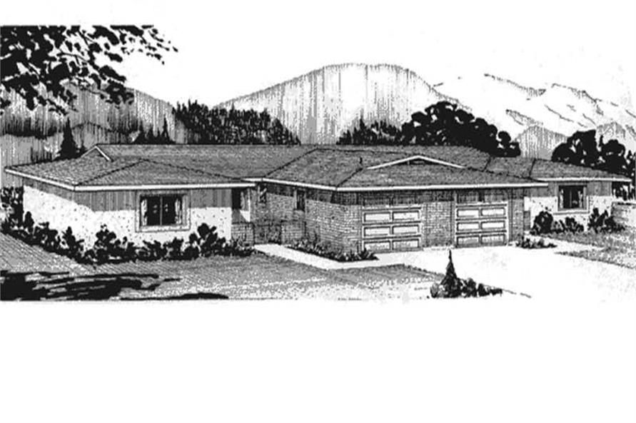 This is the front elevation for Multi-Unit Homeplans LS-H-560-1A2.