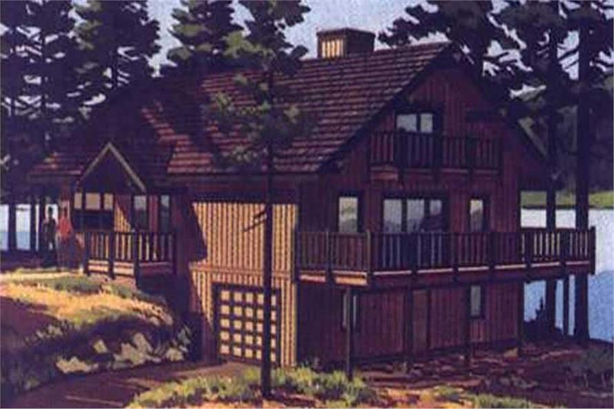 This is the colored front elevation of Vacation House Plans LS-H-881-1.