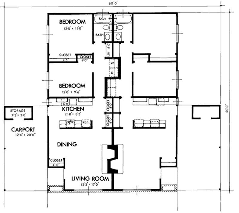 Multi unit house plans home design ls h 5271 c2 for Multi unit floor plans