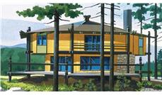 This is the colored elevation of Vacation Home Plans LS-H-27.