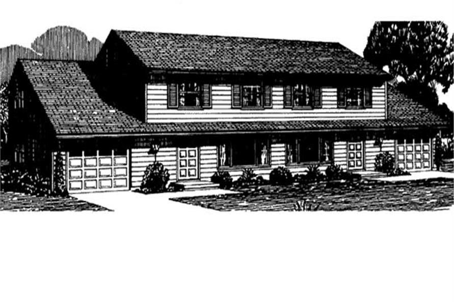 This shows the Cape Cod style of these Multi-Unit Homeplans LS-H-581-1A2.