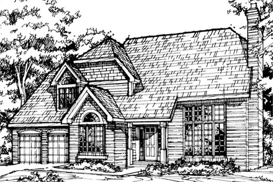 This image shows the European/Country/Farmhouse Style of this set of house plans.