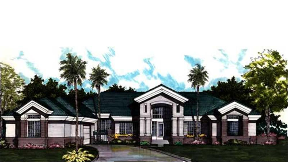 Luxury Homeplans LS-B-91018 colored front elevation rendering image.