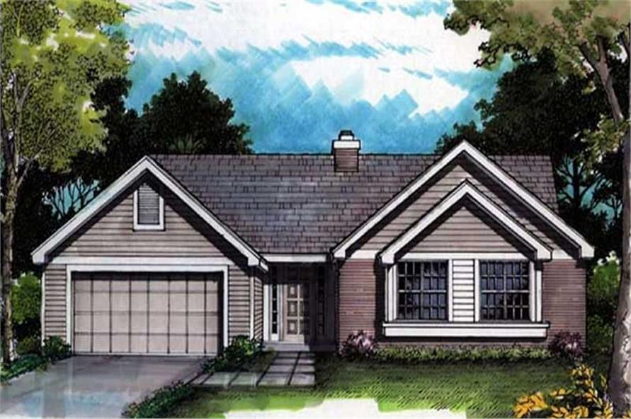 Ranch Houseplans LS-B-91016 colored front rendering.