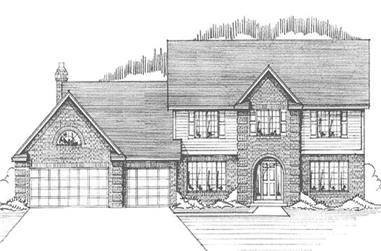 4-Bedroom, 2729 Sq Ft Colonial House Plan - 146-1098 - Front Exterior
