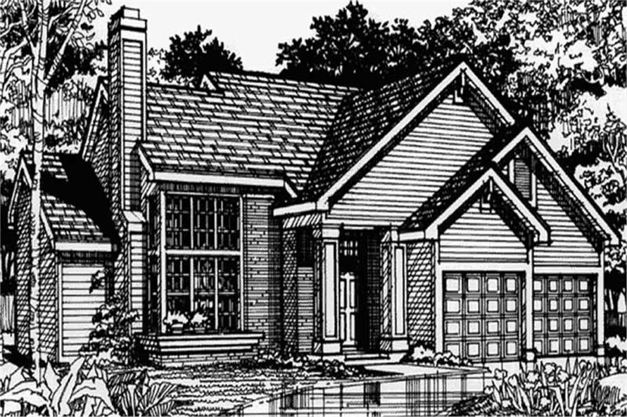 Country Homeplans LS-B-90044 front elevation.