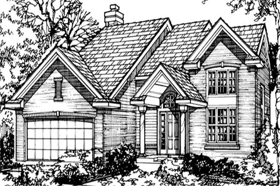 Country Houseplans LS-B-90050 Front Rendering.
