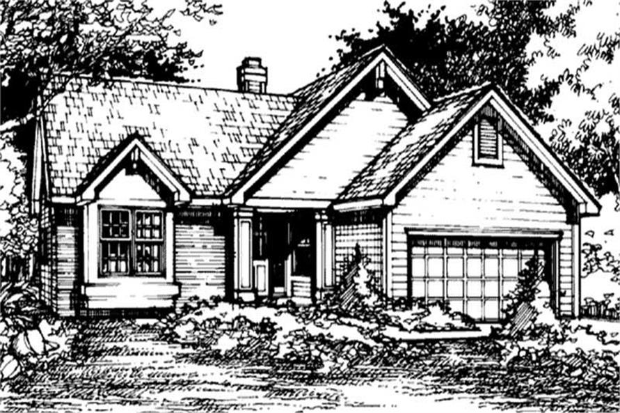 Country Houseplans LS-B-90040 Front Elevation.
