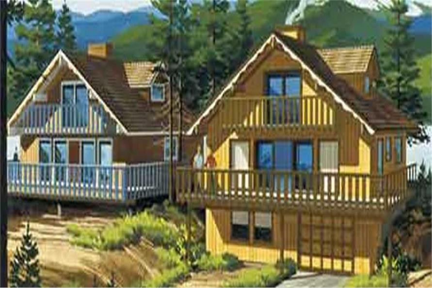 This is a colored front elevation of Vacation Homeplans LS-H-720-12A.