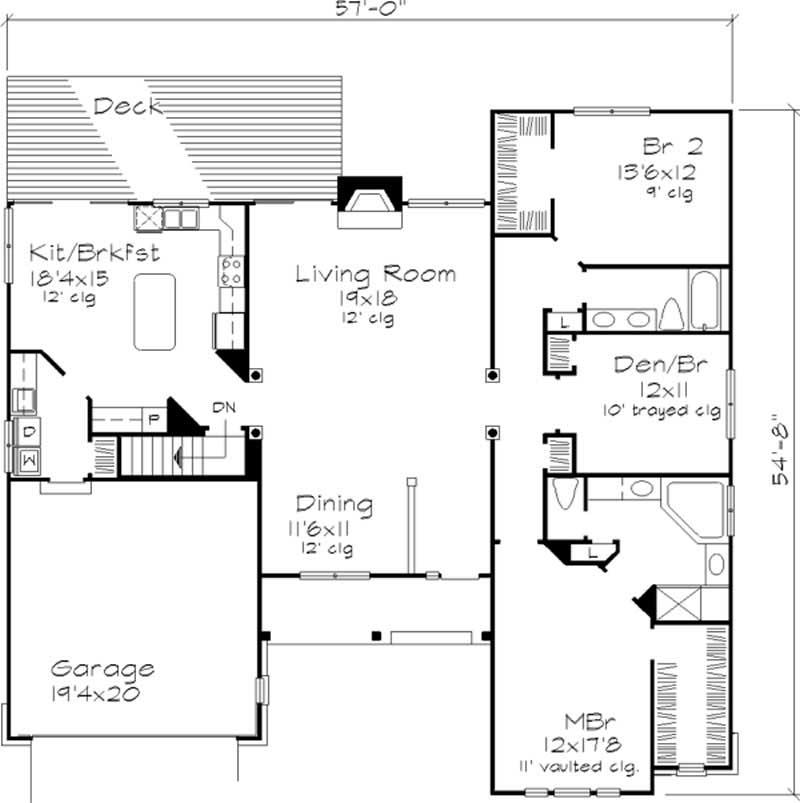 Ranch houseplans home design ls b 92003 for 1125 sq ft floor plan