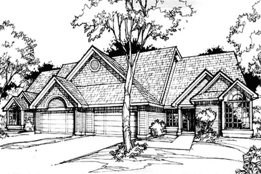 This image shows the Traditional/Country/Multi-Unit Style of this set of house plans.
