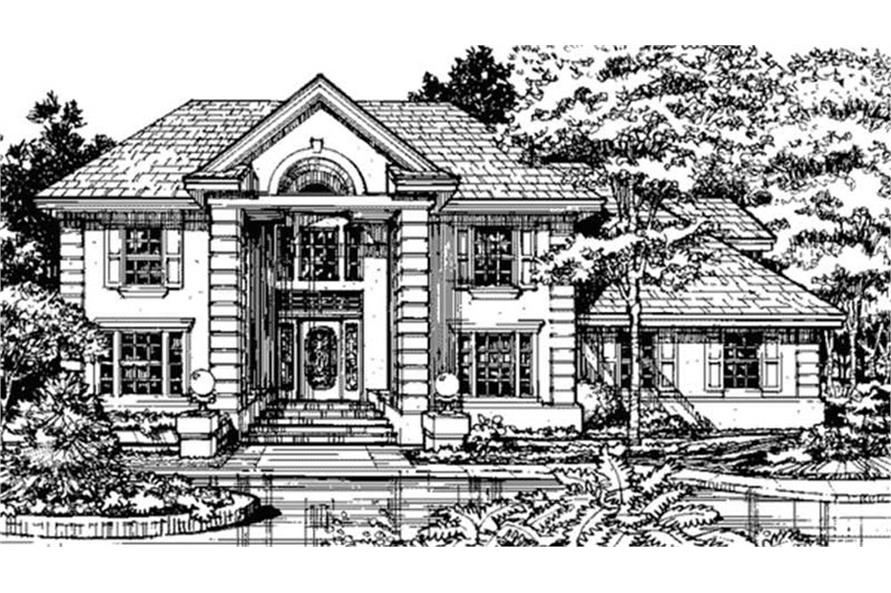 Home Plan Front Elevation of this 3-Bedroom,2493 Sq Ft Plan -146-1129