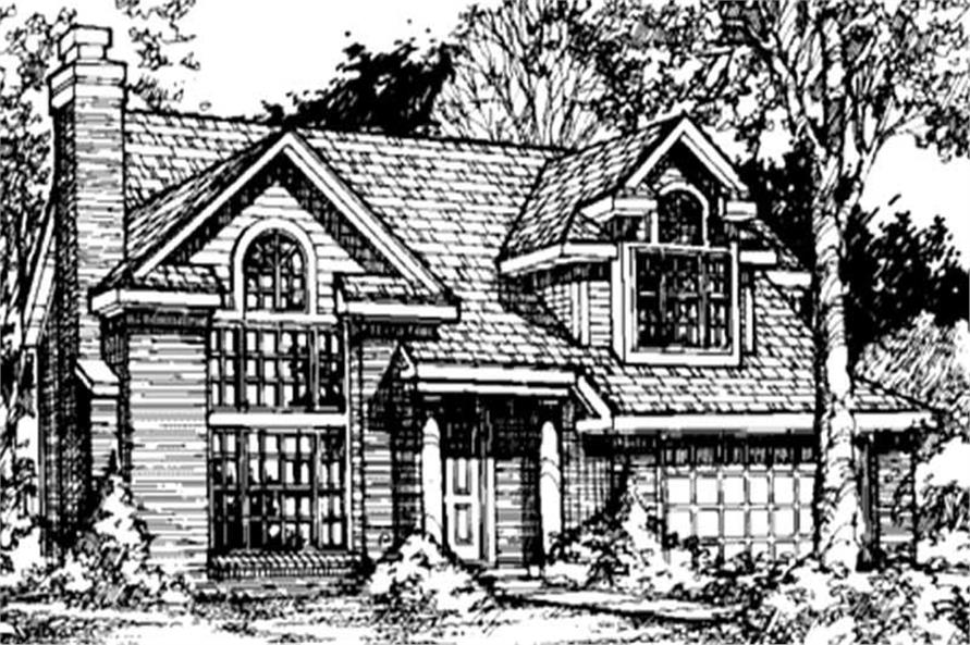 This image shows the front elevation of these Traditional Country Home Plans (LS-B-91002).