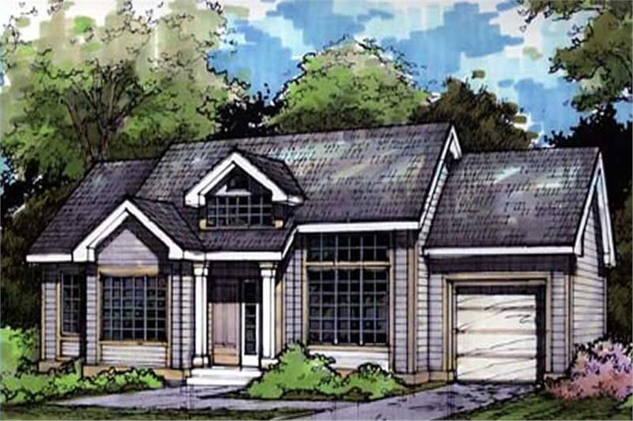 Ranch Houseplans LS-B-90066 Colored Front Elevation.