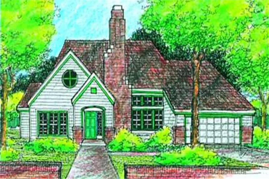 Country House Plans LS-B-90065 stunning colored front elevation.