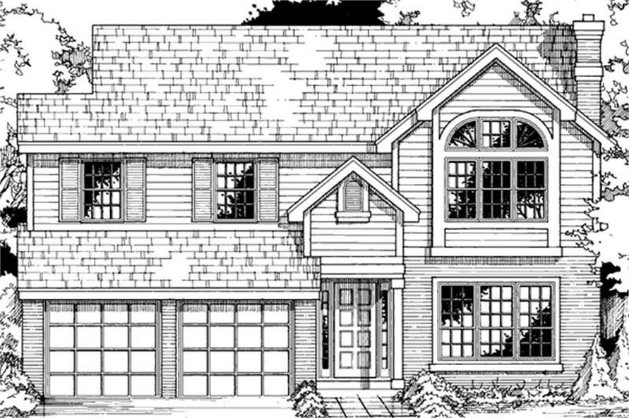 Country Homeplans LS-B-90064 front elevation.