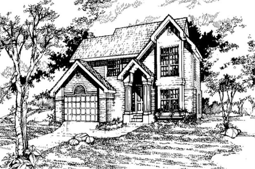 Country Homeplans LS-B-91001 front elevation.