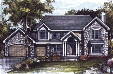 3-Bedroom, 3195 Sq Ft Country House Plan - 146-1153 - Front Exterior