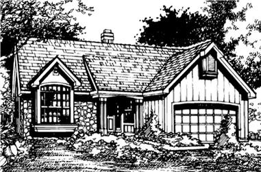 3-Bedroom, 1390 Sq Ft Country House Plan - 146-1154 - Front Exterior