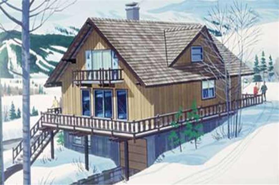 This is the front elevation of Vacation Houseplans LS-H-858-2.