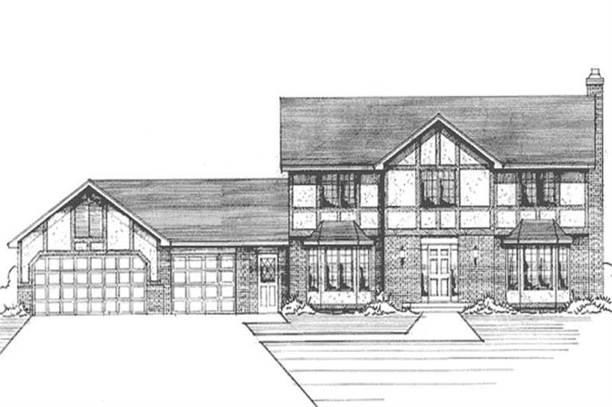 3-Bedroom, 2528 Sq Ft Colonial Home Plan - 146-1168 - Main Exterior