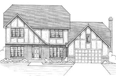 4-Bedroom, 2503 Sq Ft Tudor House Plan - 146-1182 - Front Exterior